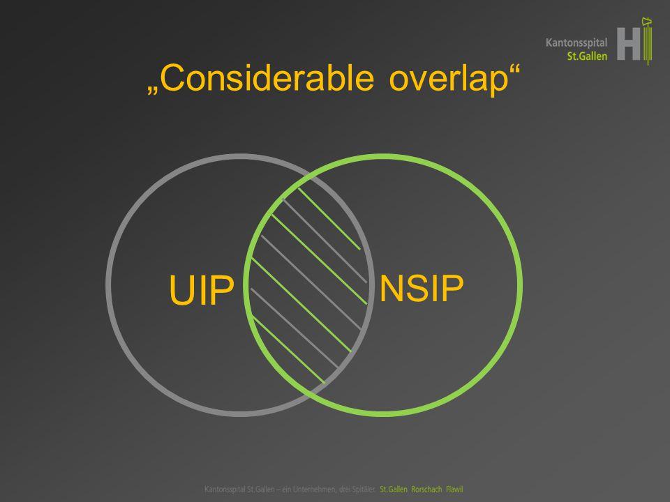 """UIP NSIP """"Considerable overlap"""