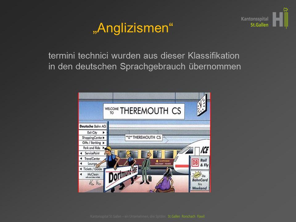 """""""Anglizismen termini technici wurden aus dieser Klassifikation in den deutschen Sprachgebrauch übernommen"""