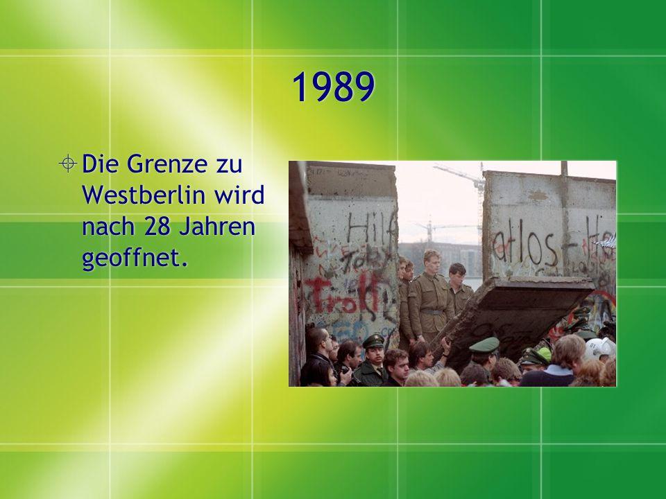 1990  Wiedervereinigung der Bundesrepublik Deutschland im Westen und der DDR im Osten.