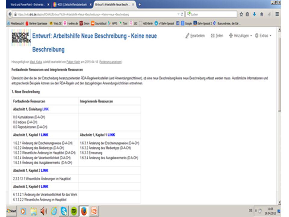 AG RDA Schulungsunterlagen – Modul 5B.08: Neue Beschreibungen| Stand: 26.06.2015 | CC BY-NC-SA 23