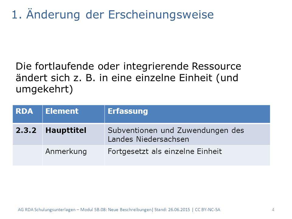 4 RDAElementErfassung 2.3.2HaupttitelSubventionen und Zuwendungen des Landes Niedersachsen AnmerkungFortgesetzt als einzelne Einheit 1.