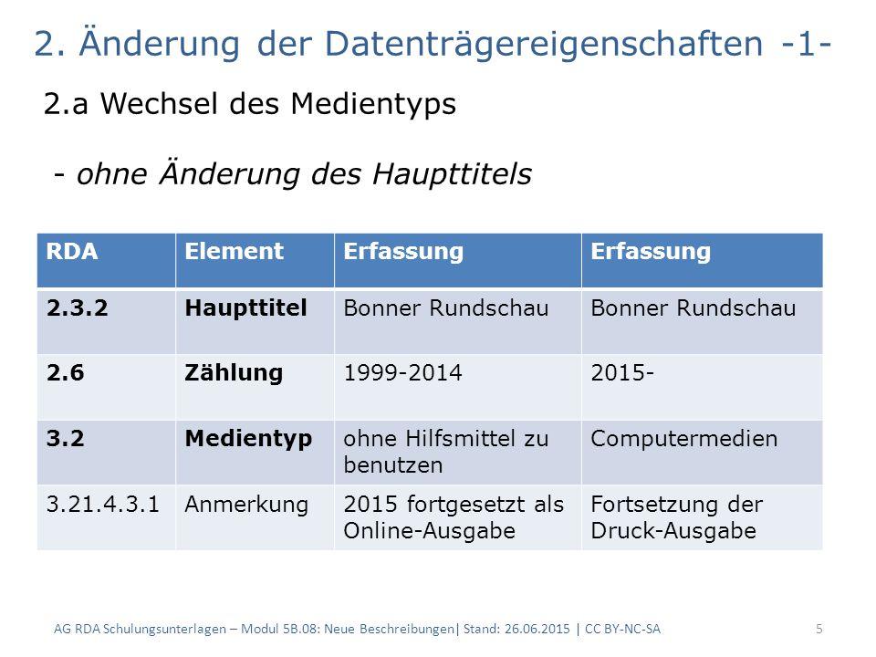 AG RDA Schulungsunterlagen – Modul 5B.08: Neue Beschreibungen| Stand: 26.06.2015 | CC BY-NC-SA5 2.