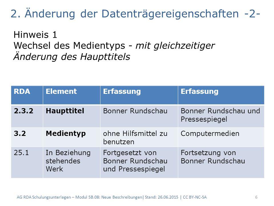 AG RDA Schulungsunterlagen – Modul 5B.08: Neue Beschreibungen| Stand: 26.06.2015 | CC BY-NC-SA6 2.