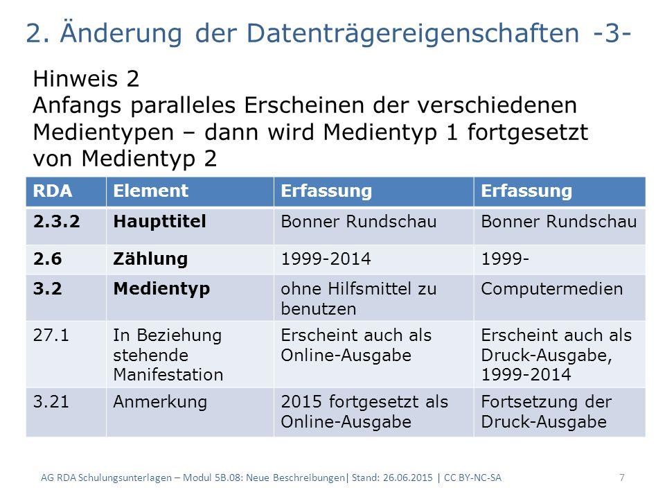 AG RDA Schulungsunterlagen – Modul 5B.08: Neue Beschreibungen| Stand: 26.06.2015 | CC BY-NC-SA7 2.