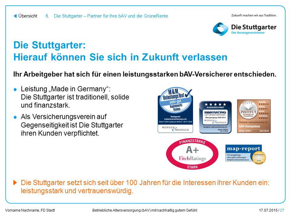 Betriebliche Altersversorgung (bAV) mit nachhaltig gutem Gefühl17.07.2015 / 27 Vorname Nachname, FD Stadt Übersicht Die Stuttgarter: Hierauf können Si