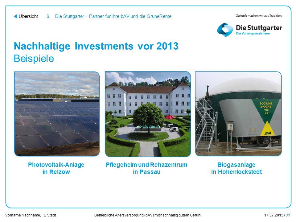 Betriebliche Altersversorgung (bAV) mit nachhaltig gutem Gefühl17.07.2015 / 31 Vorname Nachname, FD Stadt Übersicht Nachhaltige Investments vor 2013 B