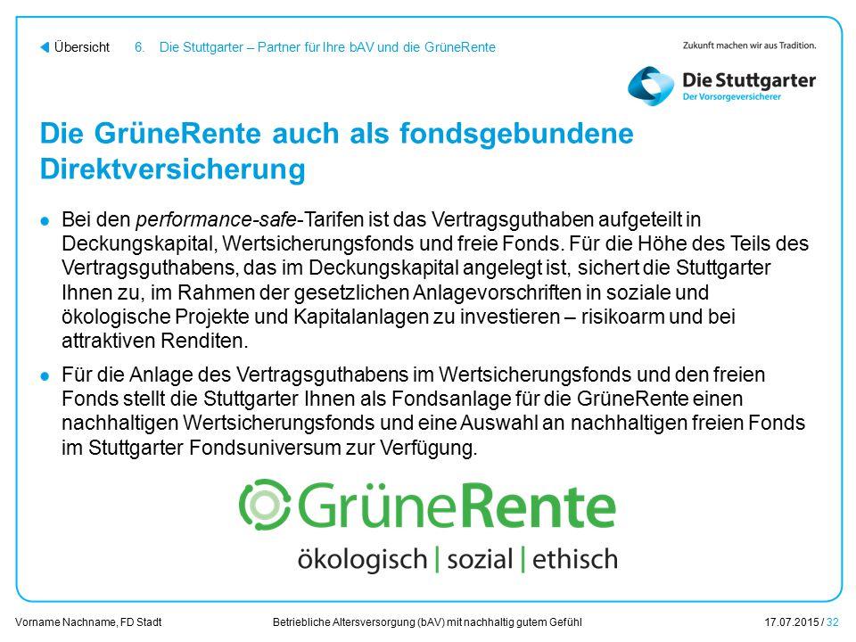 Betriebliche Altersversorgung (bAV) mit nachhaltig gutem Gefühl17.07.2015 / 32 Vorname Nachname, FD Stadt Übersicht Die GrüneRente auch als fondsgebun