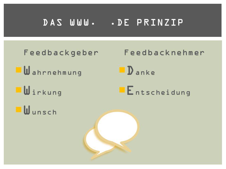 Feedbackgeber  W ahrnehmung  W irkung  W unsch Feedbacknehmer  D anke  E ntscheidung DAS WWW..DE PRINZIP