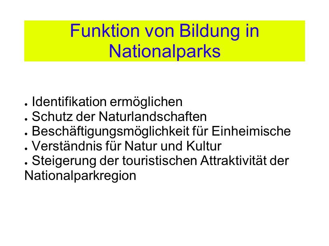 Funktion von Bildung in Nationalparks ● Identifikation ermöglichen ● Schutz der Naturlandschaften ● Beschäftigungsmöglichkeit für Einheimische ● Verständnis für Natur und Kultur ● Steigerung der touristischen Attraktivität der Nationalparkregion