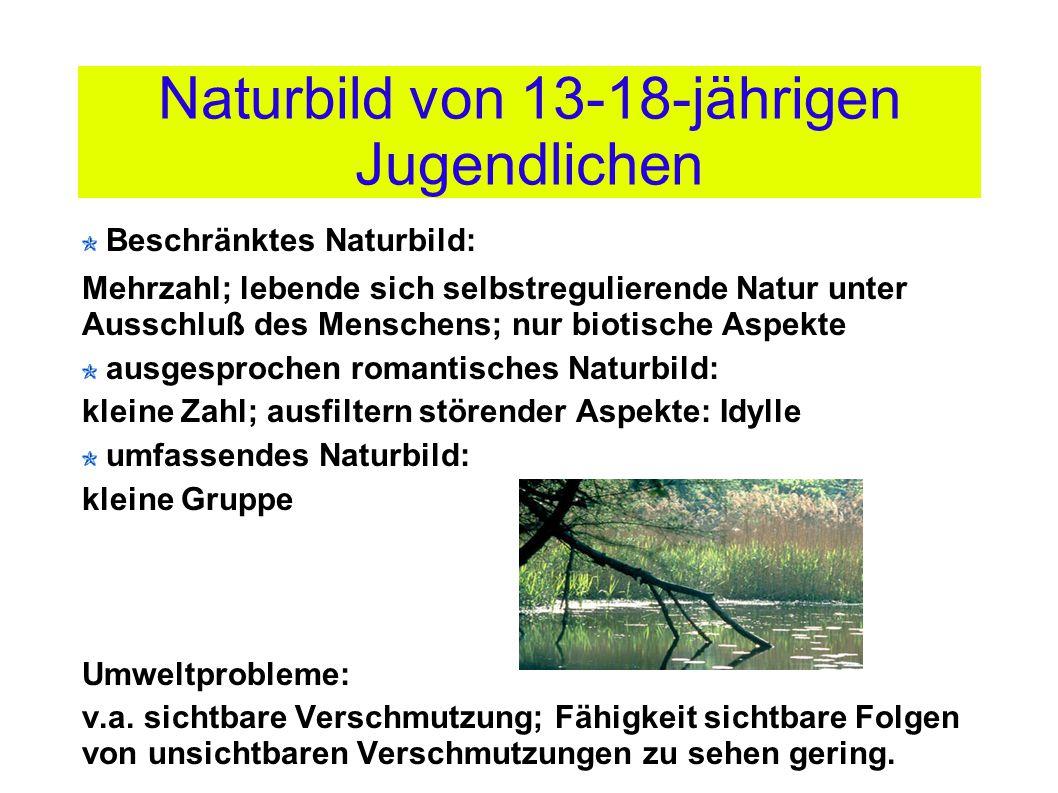 Naturbild von 13-18-jährigen Jugendlichen Beschränktes Naturbild: Mehrzahl; lebende sich selbstregulierende Natur unter Ausschluß des Menschens; nur b