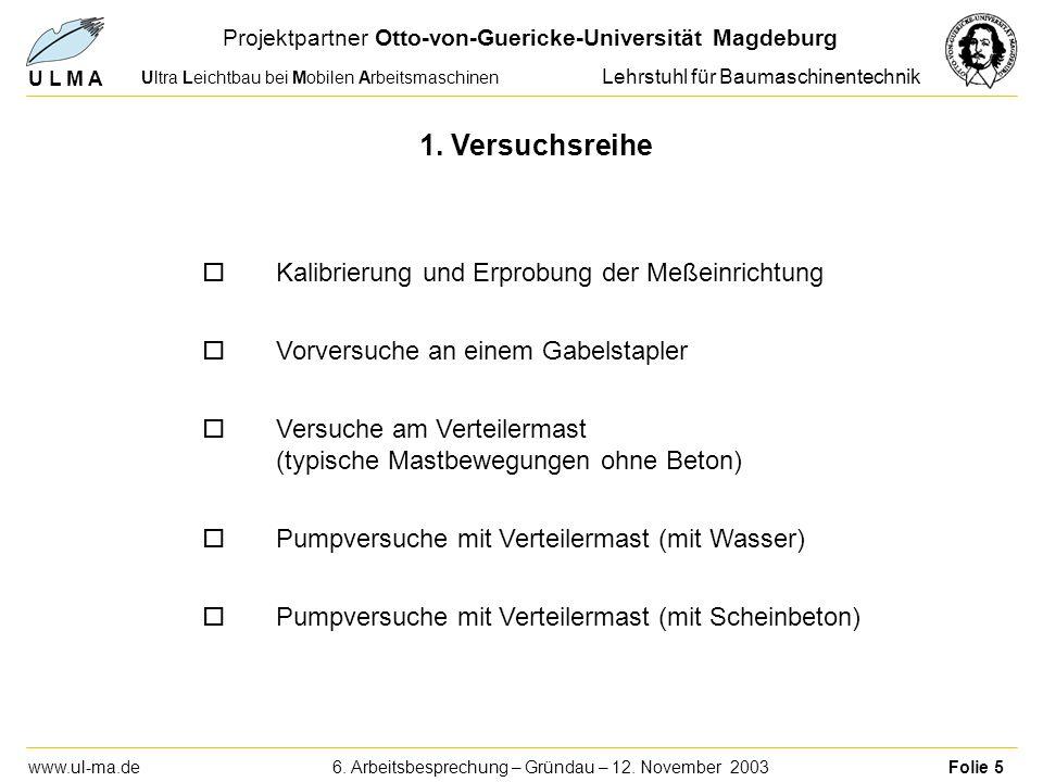 U L M A Ultra Leichtbau bei Mobilen Arbeitsmaschinen Projektpartner Otto-von-Guericke-Universität Magdeburg Lehrstuhl für Baumaschinentechnik www.ul-ma.de 6.