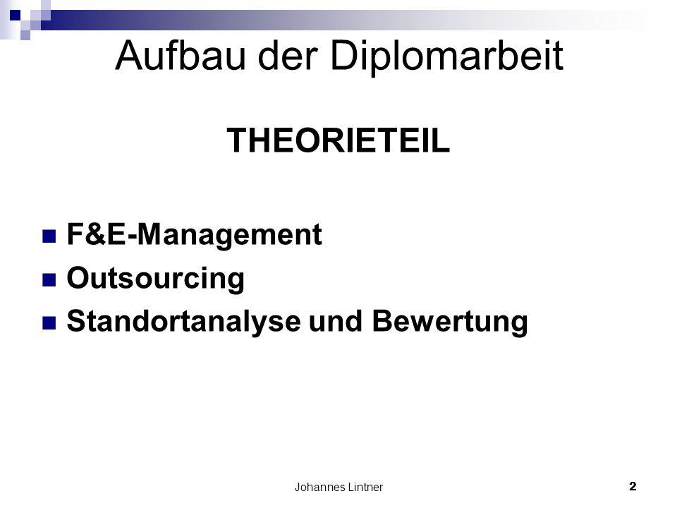 Johannes Lintner2 Aufbau der Diplomarbeit THEORIETEIL F&E-Management Outsourcing Standortanalyse und Bewertung
