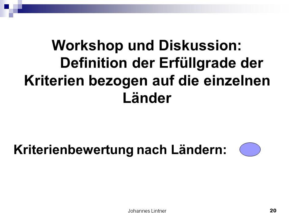 Johannes Lintner20 Workshop und Diskussion: Definition der Erfüllgrade der Kriterien bezogen auf die einzelnen Länder Kriterienbewertung nach Ländern: