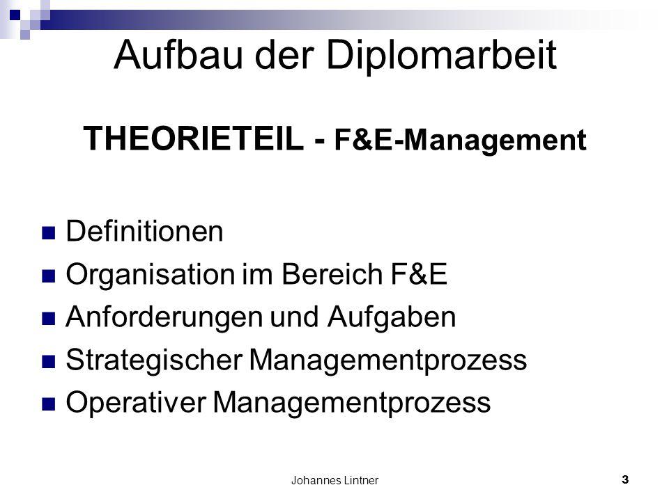 Johannes Lintner3 Aufbau der Diplomarbeit THEORIETEIL - F&E-Management Definitionen Organisation im Bereich F&E Anforderungen und Aufgaben Strategischer Managementprozess Operativer Managementprozess