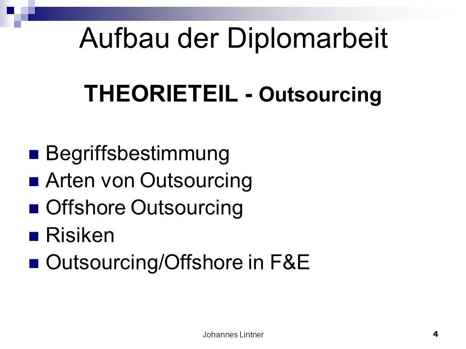 Johannes Lintner4 Aufbau der Diplomarbeit THEORIETEIL - Outsourcing Begriffsbestimmung Arten von Outsourcing Offshore Outsourcing Risiken Outsourcing/Offshore in F&E