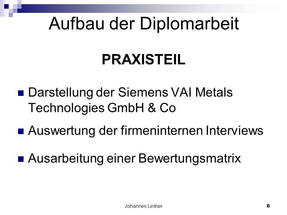 Johannes Lintner6 Aufbau der Diplomarbeit PRAXISTEIL Darstellung der Siemens VAI Metals Technologies GmbH & Co Auswertung der firmeninternen Interviews Ausarbeitung einer Bewertungsmatrix