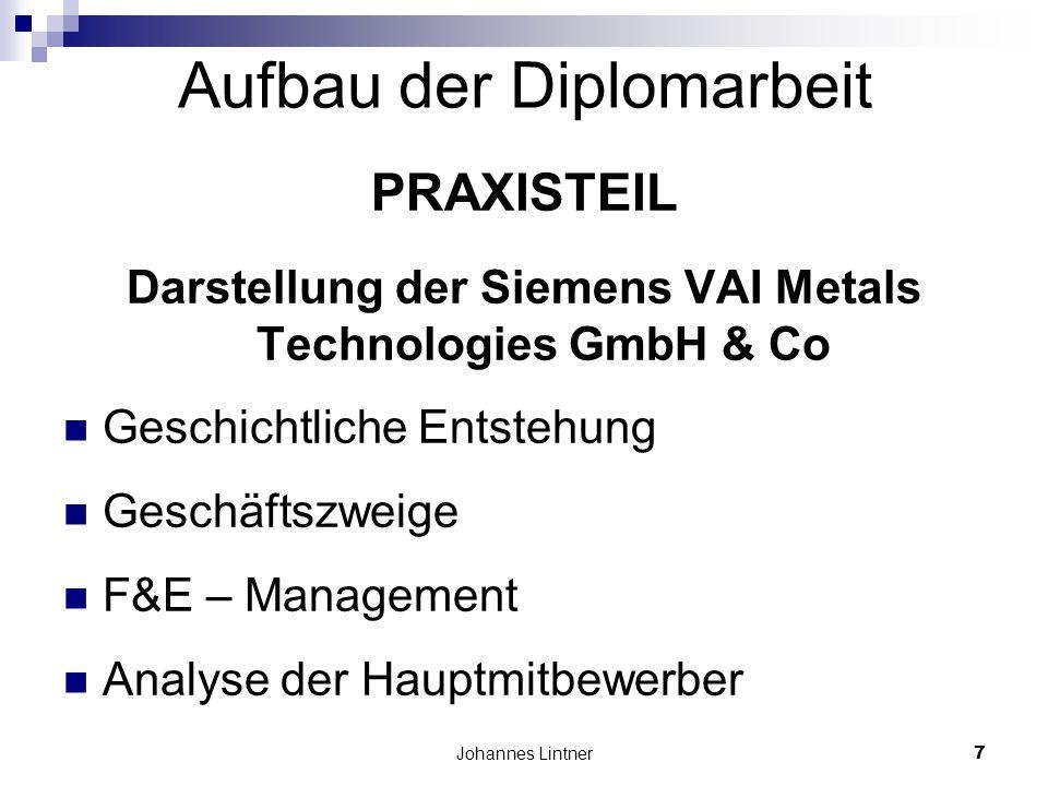 Johannes Lintner7 Aufbau der Diplomarbeit PRAXISTEIL Darstellung der Siemens VAI Metals Technologies GmbH & Co Geschichtliche Entstehung Geschäftszweige F&E – Management Analyse der Hauptmitbewerber