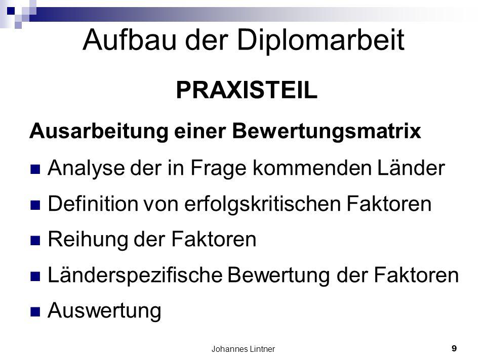 Johannes Lintner9 Aufbau der Diplomarbeit PRAXISTEIL Ausarbeitung einer Bewertungsmatrix Analyse der in Frage kommenden Länder Definition von erfolgskritischen Faktoren Reihung der Faktoren Länderspezifische Bewertung der Faktoren Auswertung