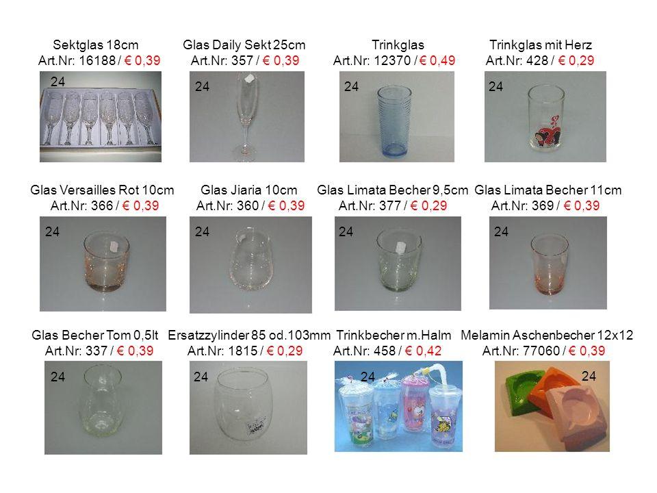 Sektglas 18cm Glas Daily Sekt 25cm Trinkglas Trinkglas mit Herz Art.Nr: 16188 / € 0,39 Art.Nr: 357 / € 0,39 Art.Nr: 12370 / € 0,49 Art.Nr: 428 / € 0,2