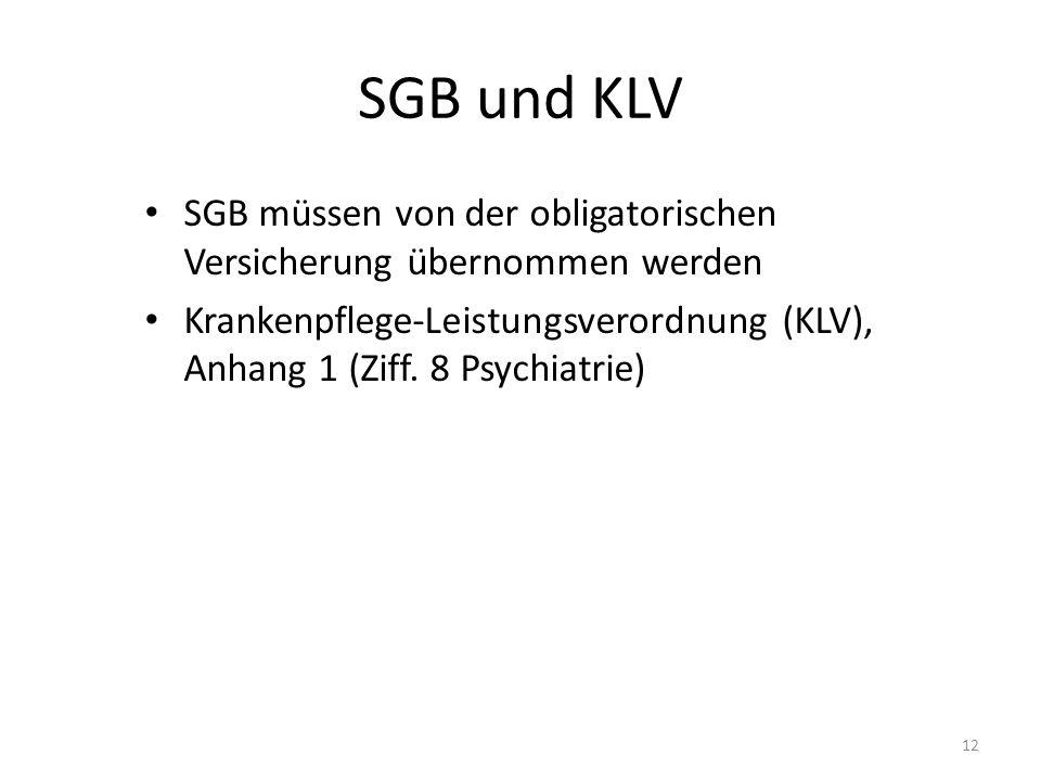 SGB und KLV SGB müssen von der obligatorischen Versicherung übernommen werden Krankenpflege-Leistungsverordnung (KLV), Anhang 1 (Ziff.