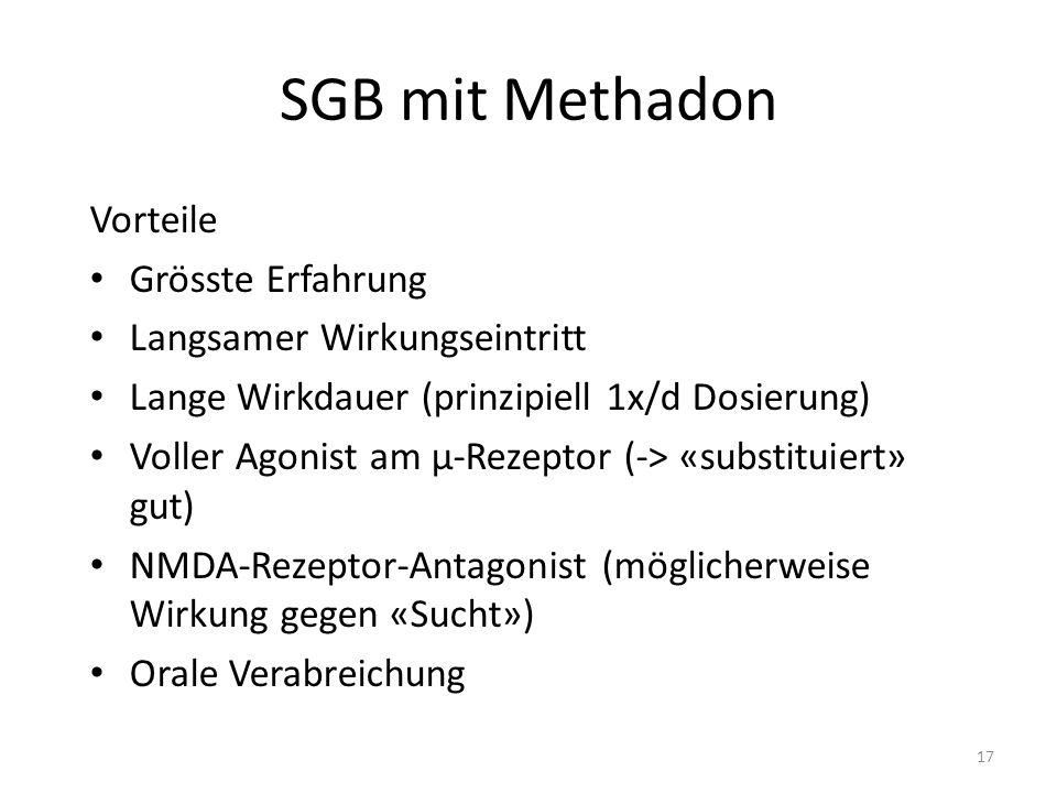 SGB mit Methadon Vorteile Grösste Erfahrung Langsamer Wirkungseintritt Lange Wirkdauer (prinzipiell 1x/d Dosierung) Voller Agonist am µ-Rezeptor (-> «substituiert» gut) NMDA-Rezeptor-Antagonist (möglicherweise Wirkung gegen «Sucht») Orale Verabreichung 17