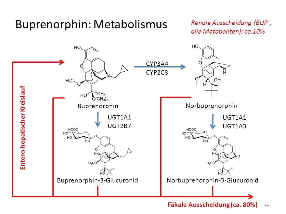 Buprenorphin: Metabolismus Buprenorphin Norbuprenorphin Buprenorphin-3-GlucuronidNorbuprenorphin-3-Glucuronid CYP3A4 CYP2C8 UGT1A1 UGT2B7 UGT1A1 UGT1A3 Entero-hepatischer Kreislauf Fäkale Ausscheidung (ca.