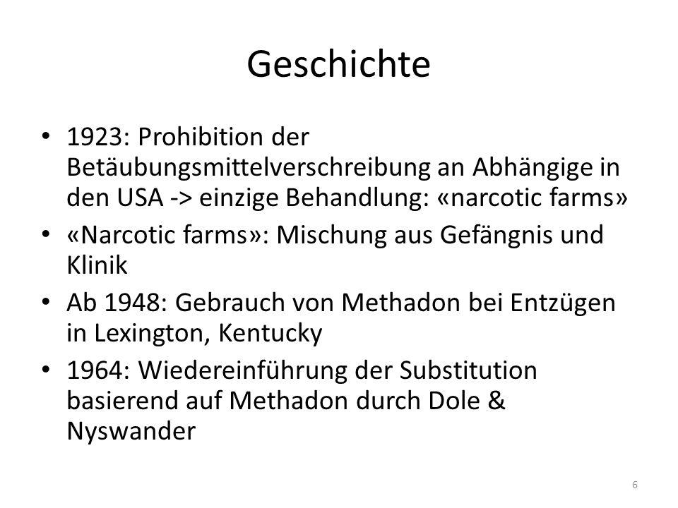 Geschichte Dole: erfolglos mit seiner Meinung, dass die bestehenden Reglementierungen in Bezug auf Betäubungsmittel auch für die Substitutionen genügen.