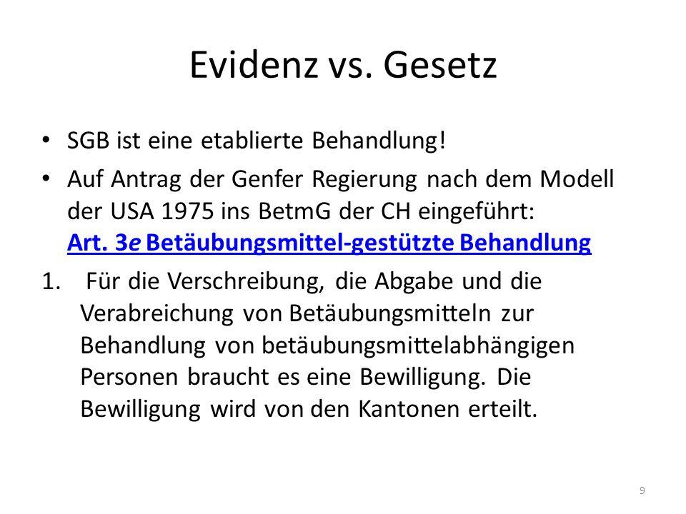 Evidenz vs.Gesetz SGB ist eine etablierte Behandlung.