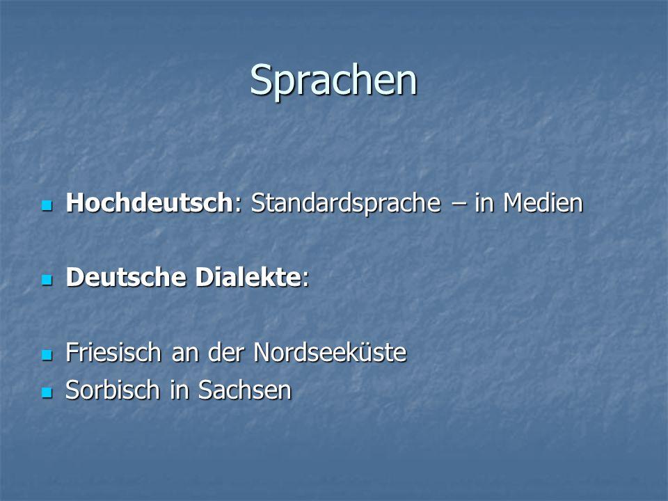 Sprachen Hochdeutsch: Standardsprache – in Medien Hochdeutsch: Standardsprache – in Medien Deutsche Dialekte: Deutsche Dialekte: Friesisch an der Nord