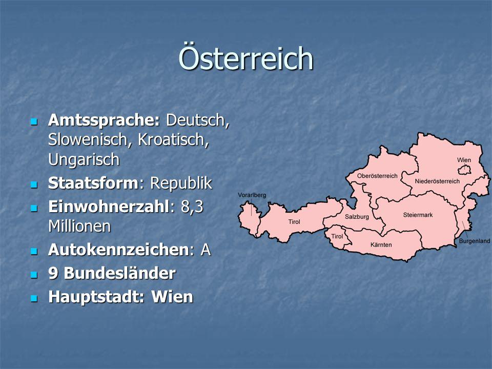Österreich Amtssprache: Deutsch, Slowenisch, Kroatisch, Ungarisch Amtssprache: Deutsch, Slowenisch, Kroatisch, Ungarisch Staatsform: Republik Staatsfo