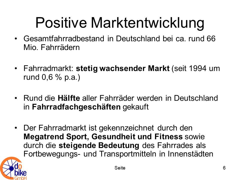 Seite6 Positive Marktentwicklung Gesamtfahrradbestand in Deutschland bei ca. rund 66 Mio. Fahrrädern Fahrradmarkt: stetig wachsender Markt (seit 1994