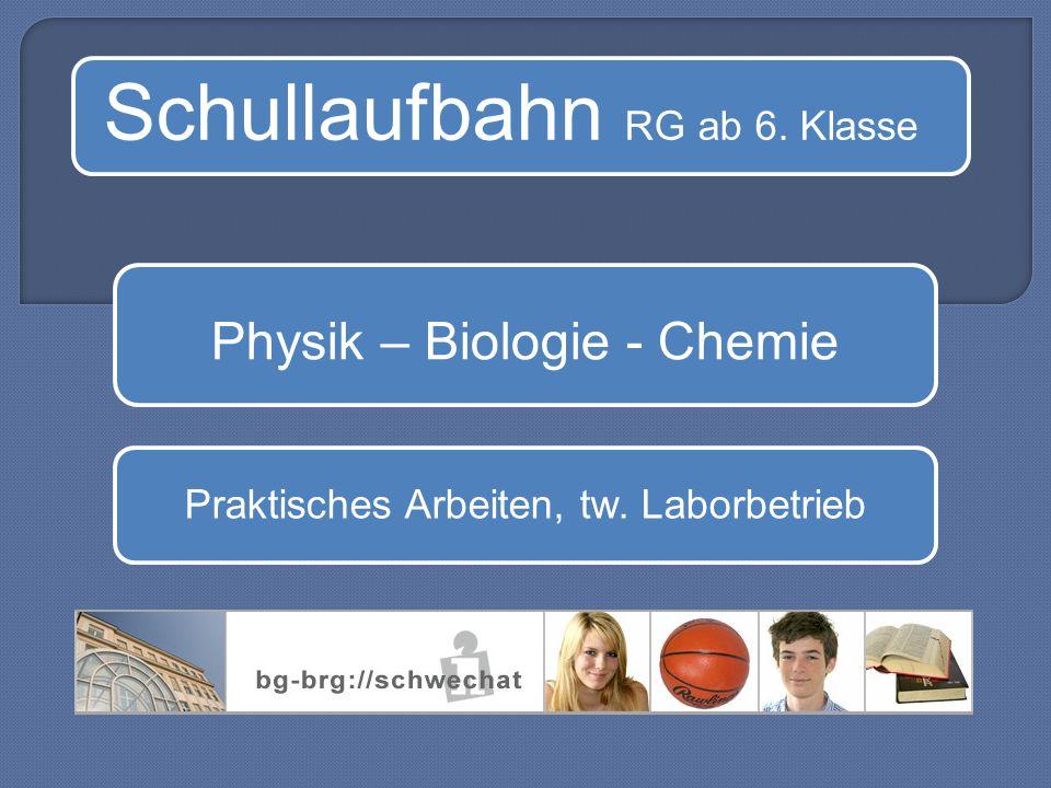 Schullaufbahn RG ab 6. Klasse Physik – Biologie - Chemie Praktisches Arbeiten, tw. Laborbetrieb