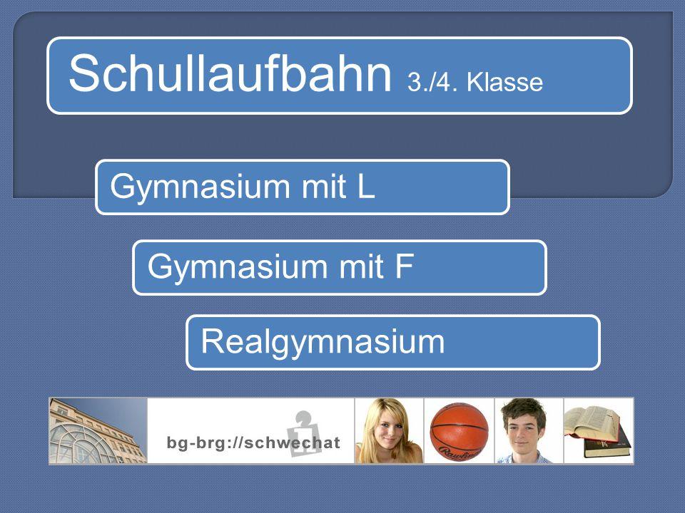 Schullaufbahn 3./4. Klasse Gymnasium mit LGymnasium mit FRealgymnasium