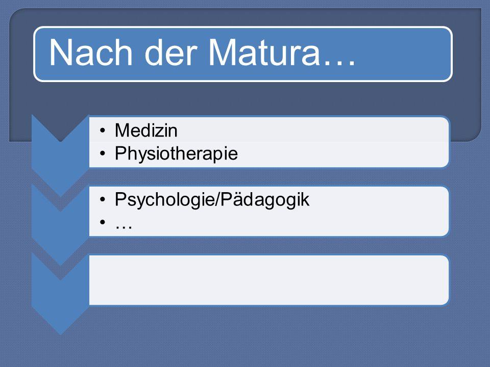Nach der Matura… Medizin Physiotherapie Psychologie/Pädagogik …