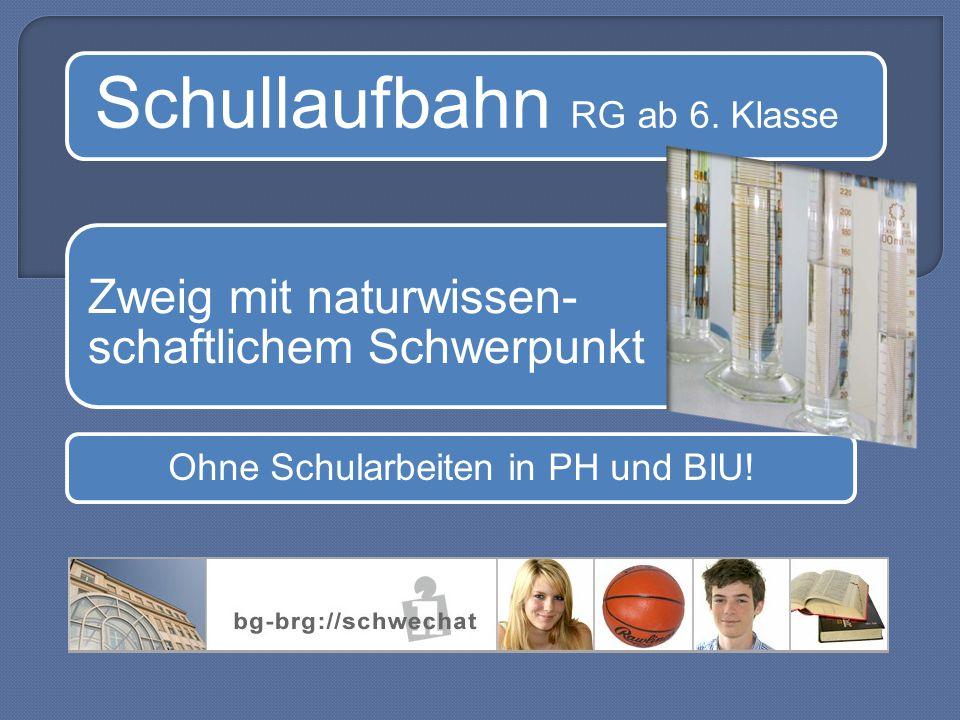 Schullaufbahn RG ab 6. Klasse Zweig mit naturwissen- schaftlichem Schwerpunkt Ohne Schularbeiten in PH und BIU!