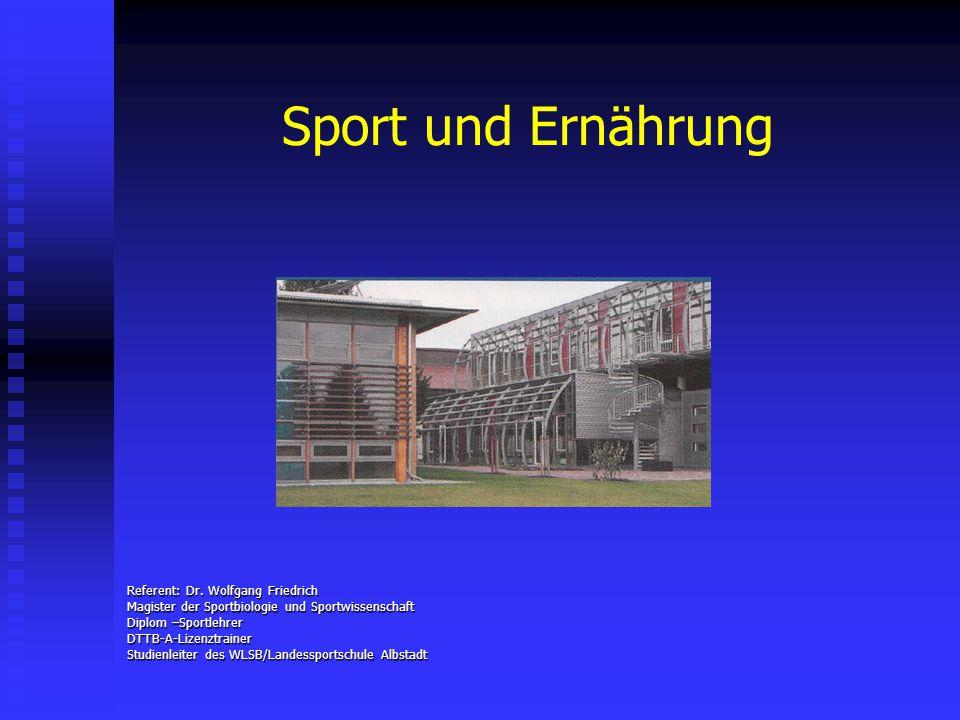Sport und Ernährung Referent: Dr. Wolfgang Friedrich Magister der Sportbiologie und Sportwissenschaft Diplom –Sportlehrer DTTB-A-Lizenztrainer Studien