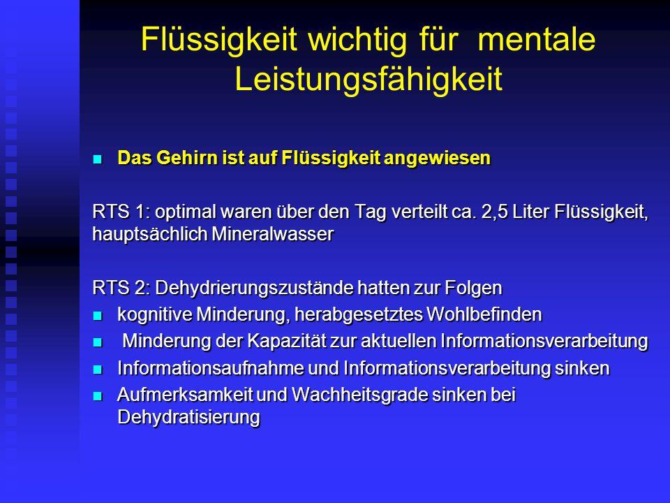 Flüssigkeit wichtig für mentale Leistungsfähigkeit Das Gehirn ist auf Flüssigkeit angewiesen Das Gehirn ist auf Flüssigkeit angewiesen RTS 1: optimal