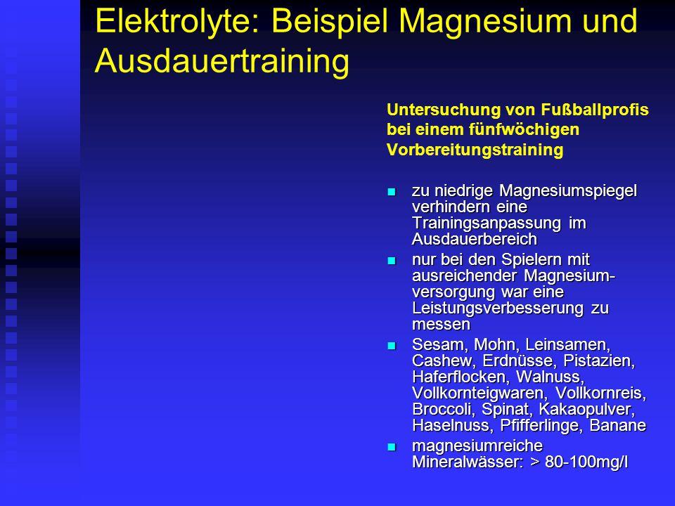 Elektrolyte: Beispiel Magnesium und Ausdauertraining Untersuchung von Fußballprofis bei einem fünfwöchigen Vorbereitungstraining zu niedrige Magnesium