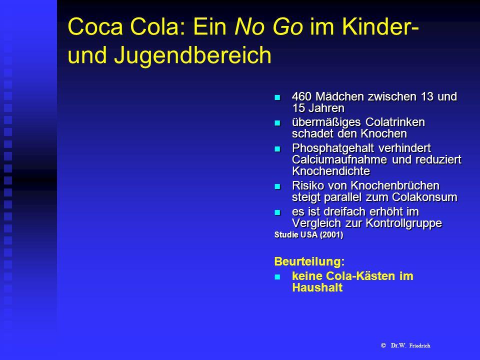 Coca Cola: Ein No Go im Kinder- und Jugendbereich 460 Mädchen zwischen 13 und 15 Jahren übermäßiges Colatrinken schadet den Knochen Phosphatgehalt ver