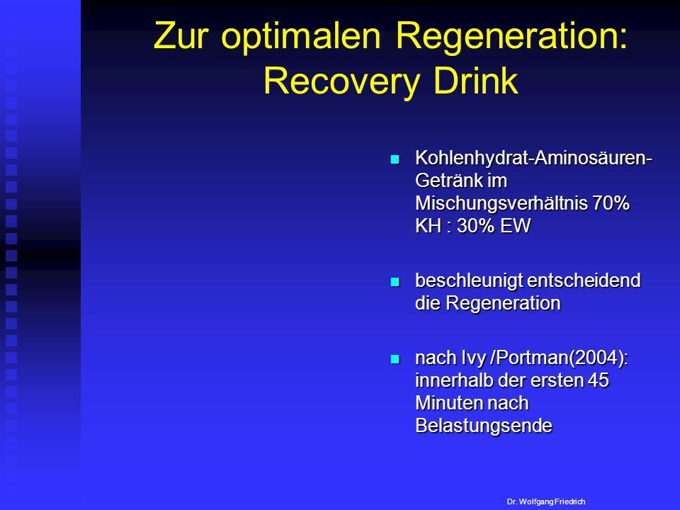 Zur optimalen Regeneration: Recovery Drink Kohlenhydrat-Aminosäuren- Getränk im Mischungsverhältnis 70% KH : 30% EW beschleunigt entscheidend die Rege