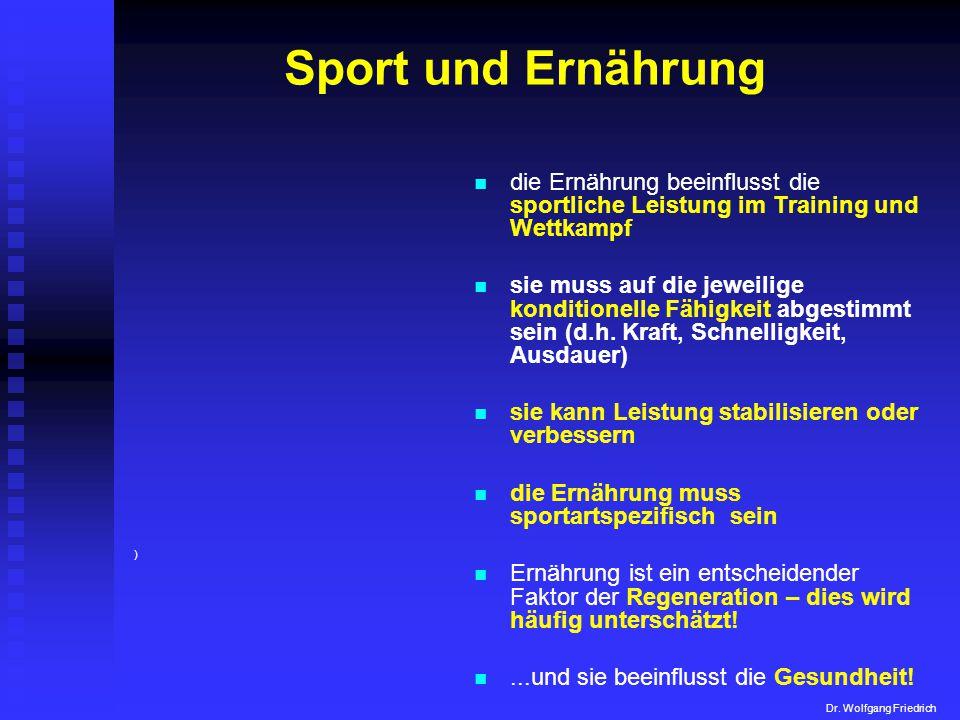 Sport und Ernährung die Ernährung beeinflusst die sportliche Leistung im Training und Wettkampf sie muss auf die jeweilige konditionelle Fähigkeit abg