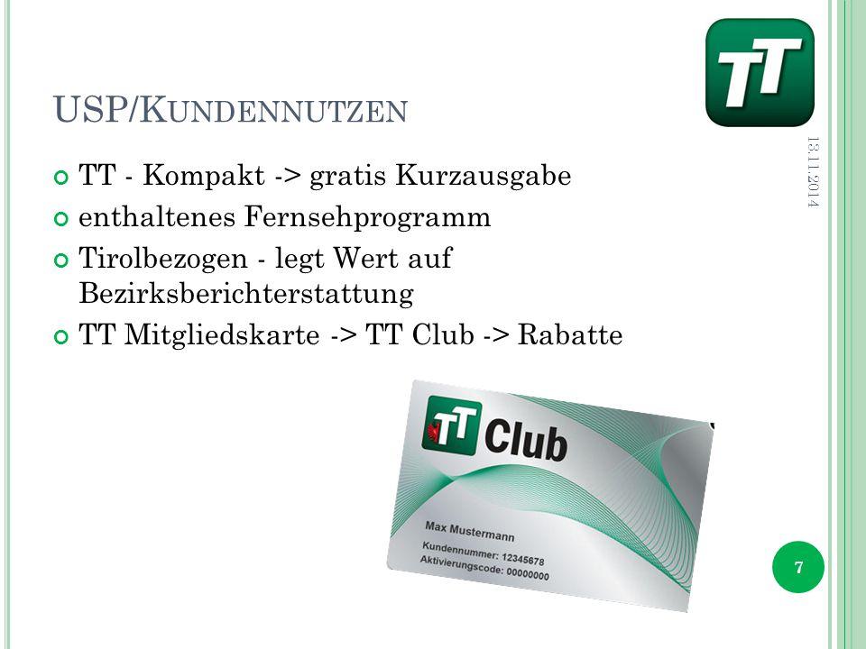 USP/K UNDENNUTZEN TT - Kompakt -> gratis Kurzausgabe enthaltenes Fernsehprogramm Tirolbezogen - legt Wert auf Bezirksberichterstattung TT Mitgliedskarte -> TT Club -> Rabatte 13.11.2014 7