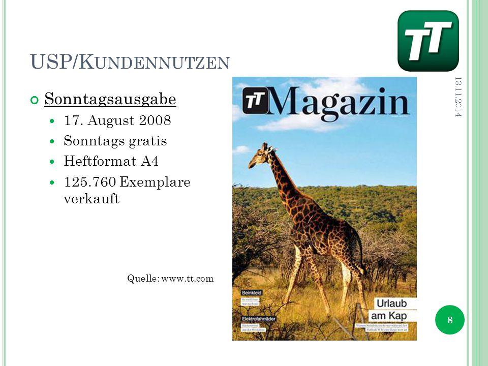 USP/K UNDENNUTZEN 13.11.2014 8 Sonntagsausgabe 17.