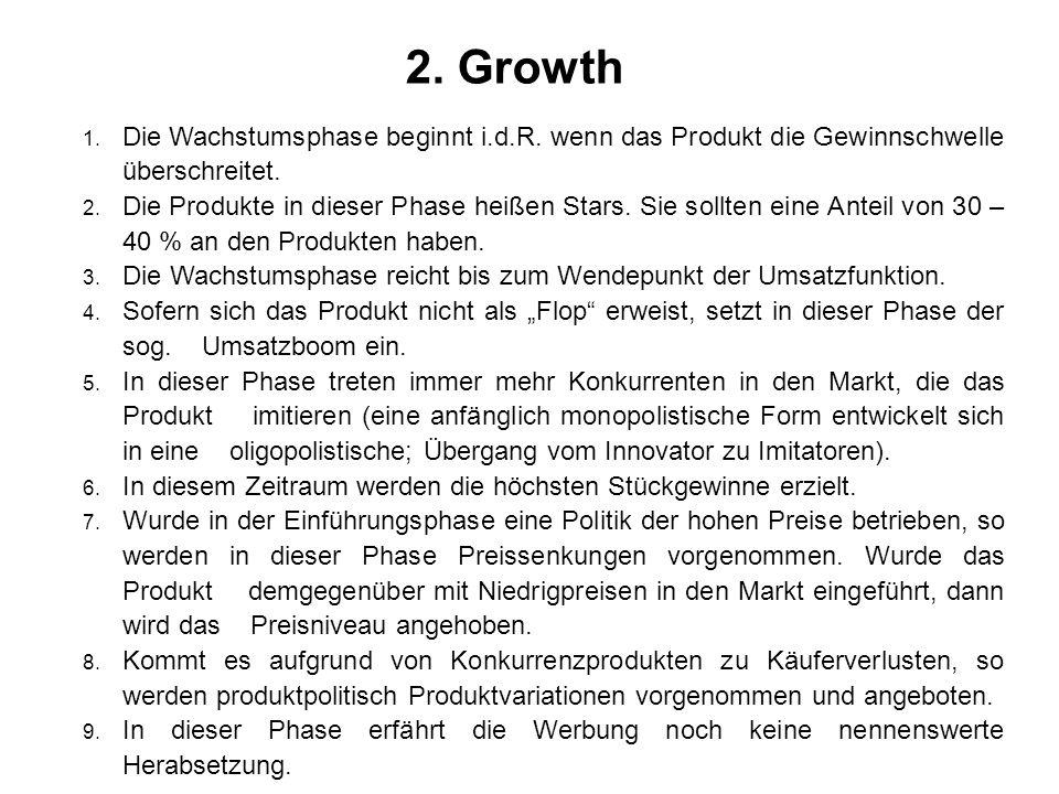 2. Growth 1. Die Wachstumsphase beginnt i.d.R. wenn das Produkt die Gewinnschwelle überschreitet. 2. Die Produkte in dieser Phase heißen Stars. Sie so