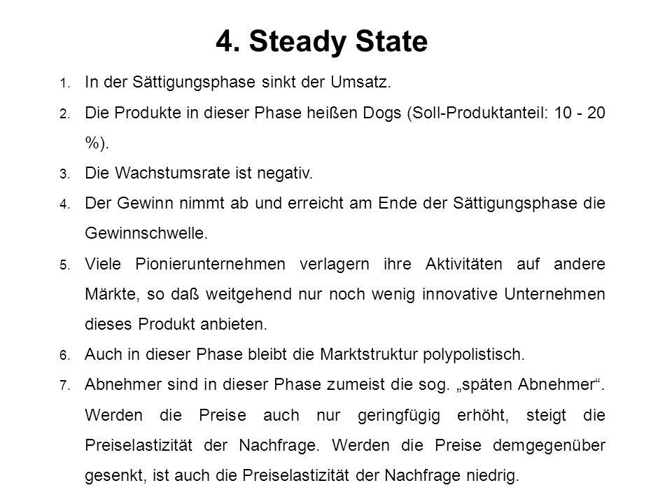 4. Steady State 1. In der Sättigungsphase sinkt der Umsatz. 2. Die Produkte in dieser Phase heißen Dogs (Soll-Produktanteil: 10 - 20 %). 3. Die Wachst
