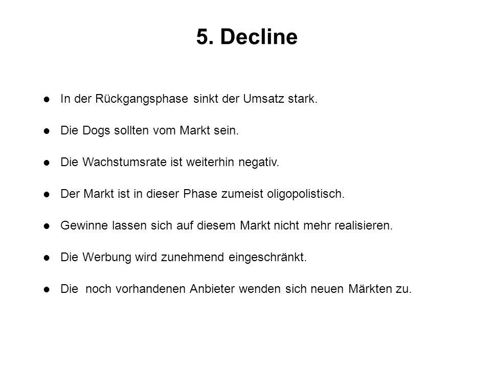 5. Decline l In der Rückgangsphase sinkt der Umsatz stark. l Die Dogs sollten vom Markt sein. l Die Wachstumsrate ist weiterhin negativ. l Der Markt i