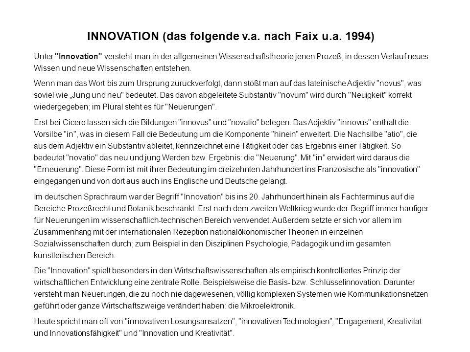 INNOVATION (das folgende v.a. nach Faix u.a. 1994) Unter