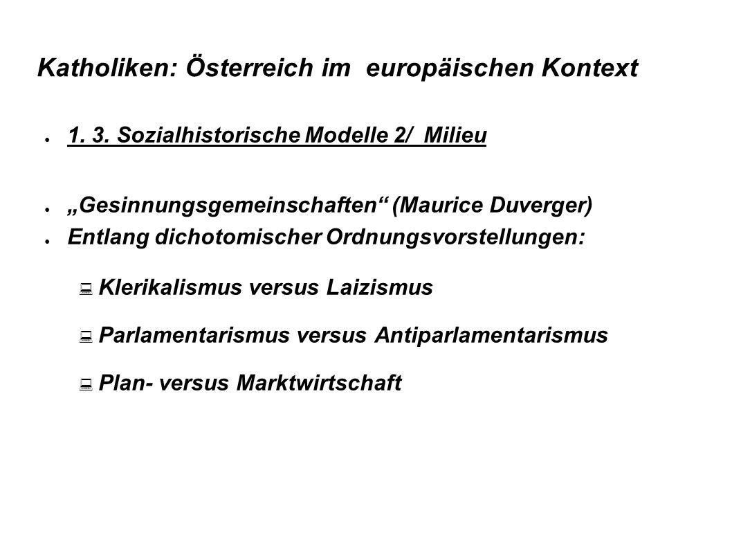 """Katholiken: Österreich im europäischen Kontext ● 1. 3. Sozialhistorische Modelle 2/ Milieu ● """"Gesinnungsgemeinschaften"""" (Maurice Duverger) ● Entlang d"""