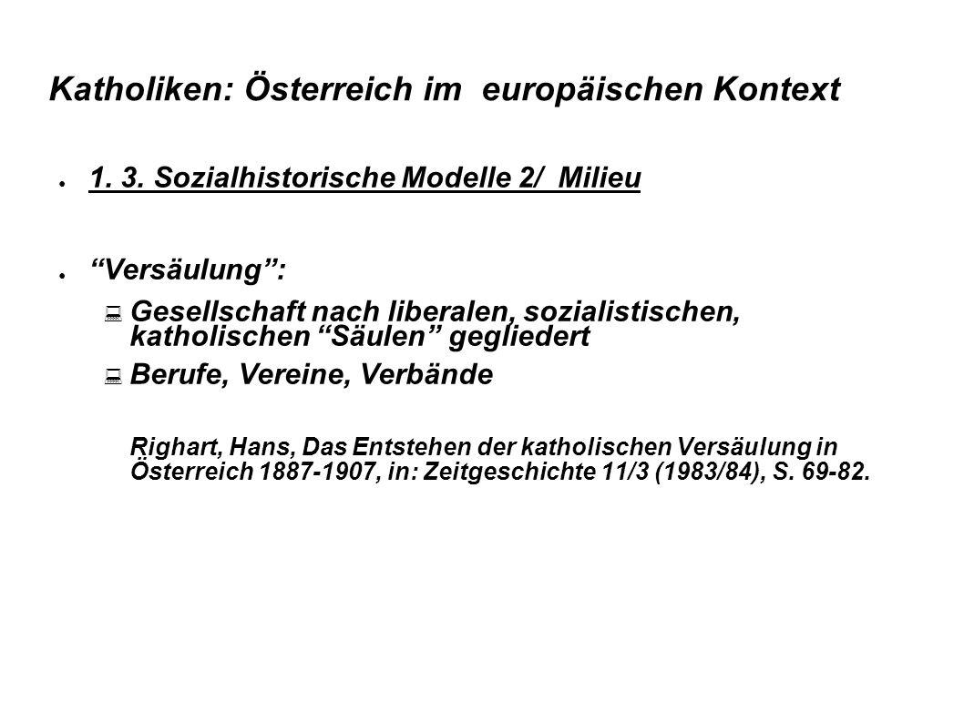 """Katholiken: Österreich im europäischen Kontext ● 1. 3. Sozialhistorische Modelle 2/ Milieu ● """"Versäulung"""":  Gesellschaft nach liberalen, sozialistisc"""