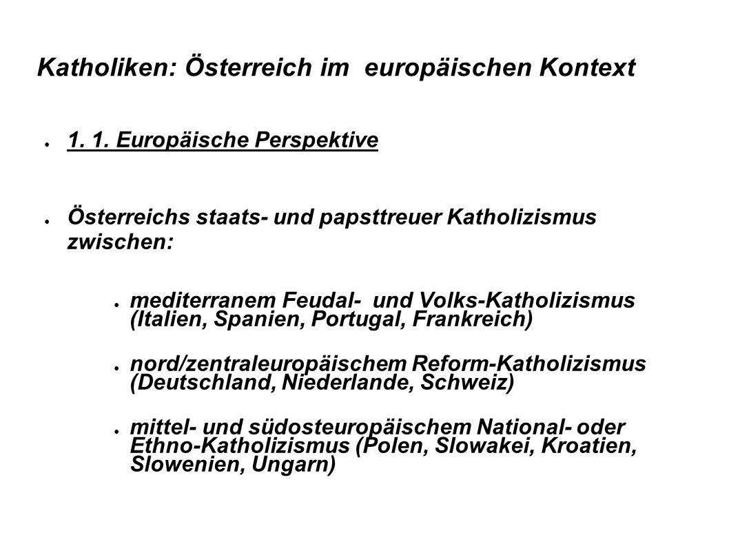 Katholiken: Österreich im europäischen Kontext ● 1. 1. Europäische Perspektive ● Österreichs staats- und papsttreuer Katholizismus zwischen: ● mediter